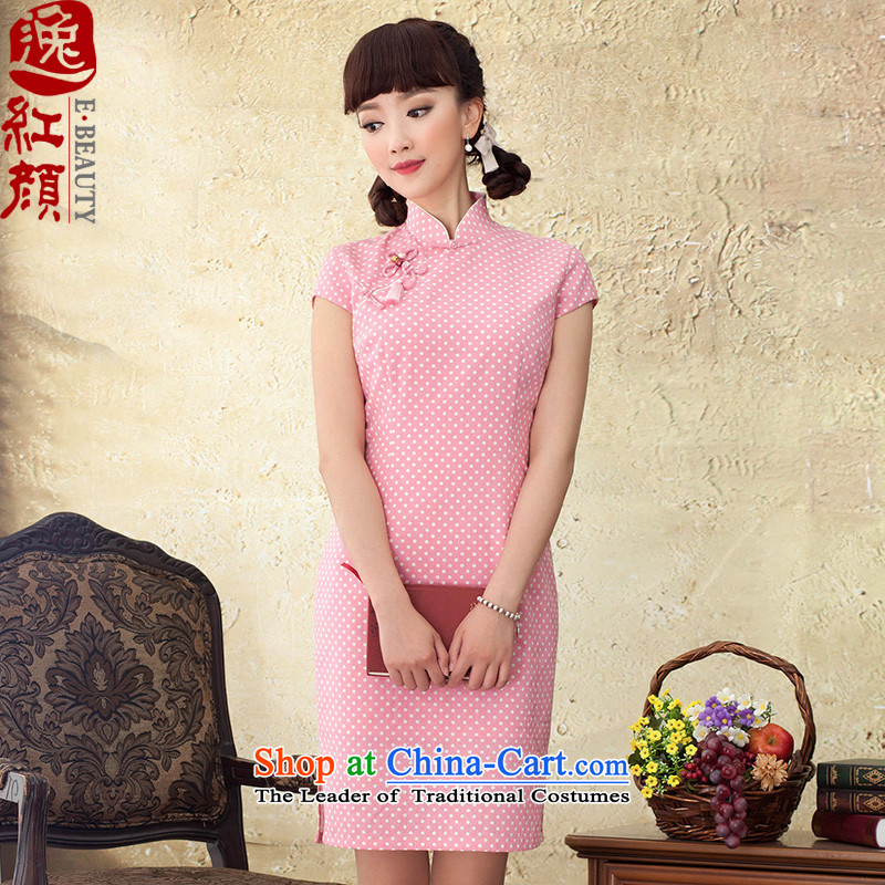 Phthalocyanine chin yat archaeologist makes new cheongsam�2015 Summer Dot Cotton short of qipao improved Sau San skirt pink�M