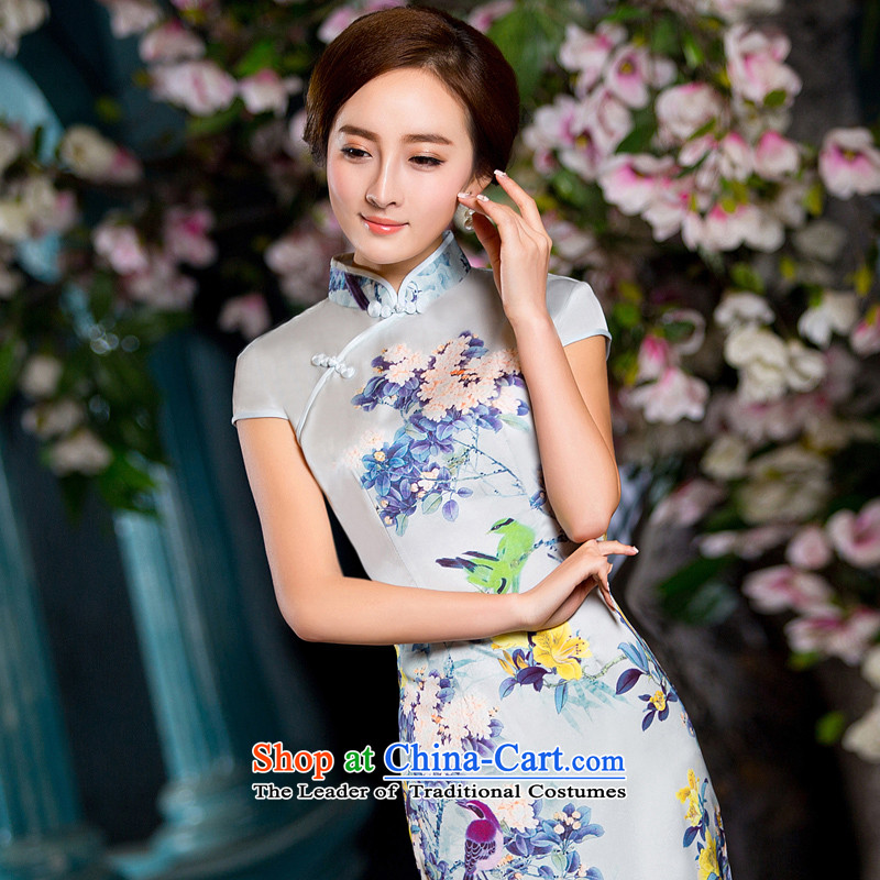 2015 Spring/Summer load new dresses Silk Cheongsam daily improved retro cheongsam dress short of stylish girl dresses�M