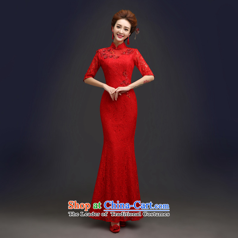 Connie wedding bows service every bride summer stylish red cheongsam dress Chinese wedding dress in long-sleeved female video in thin Cuff  ?L