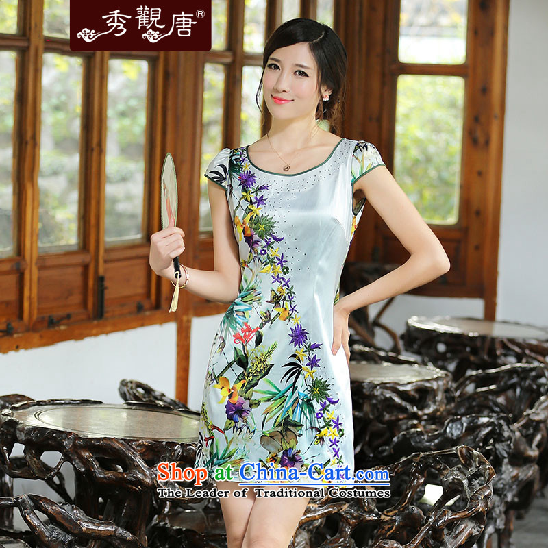 [Sau Kwun Tong] on the other side of Flower summer stylish improved cheongsam dress?2014 New China wind stamp cheongsam dress QD4413 XL