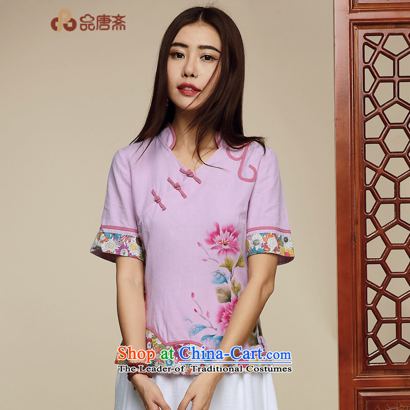No. of Ramadan 2015 Summer Tang new retro Chinese tea serving short-sleeved T-shirt color pictures qipao S