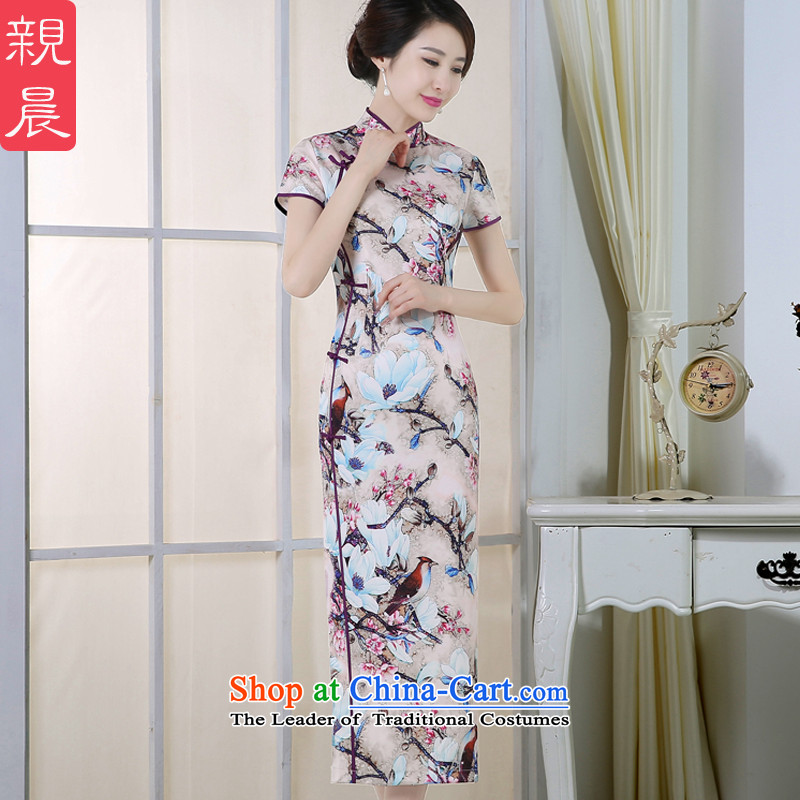 The pro-am daily, the new 2015 improved cheongsam dress the summer and fall of Stylish retro fitted long short-sleeved dresses long L