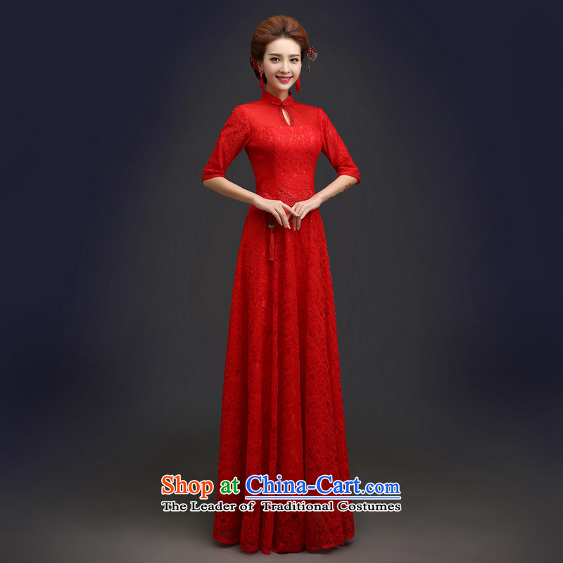 Every?spring 2015 stylish brides Connie qipao marriage services red Chinese in bows cuff improved large long summer?QP103 qipao?red?L