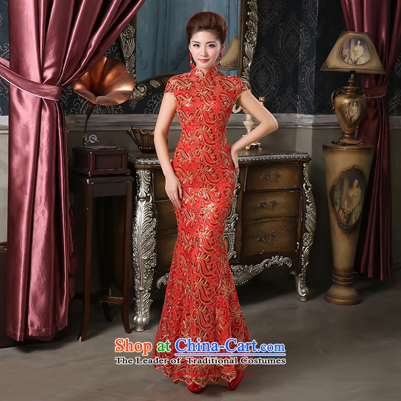 Pure Love bamboo yarn cheongsam wedding gown performances_stage_bridal dresses_costumes crowsfoot cheongsam dress long lace improved qipao bride red聽XXL