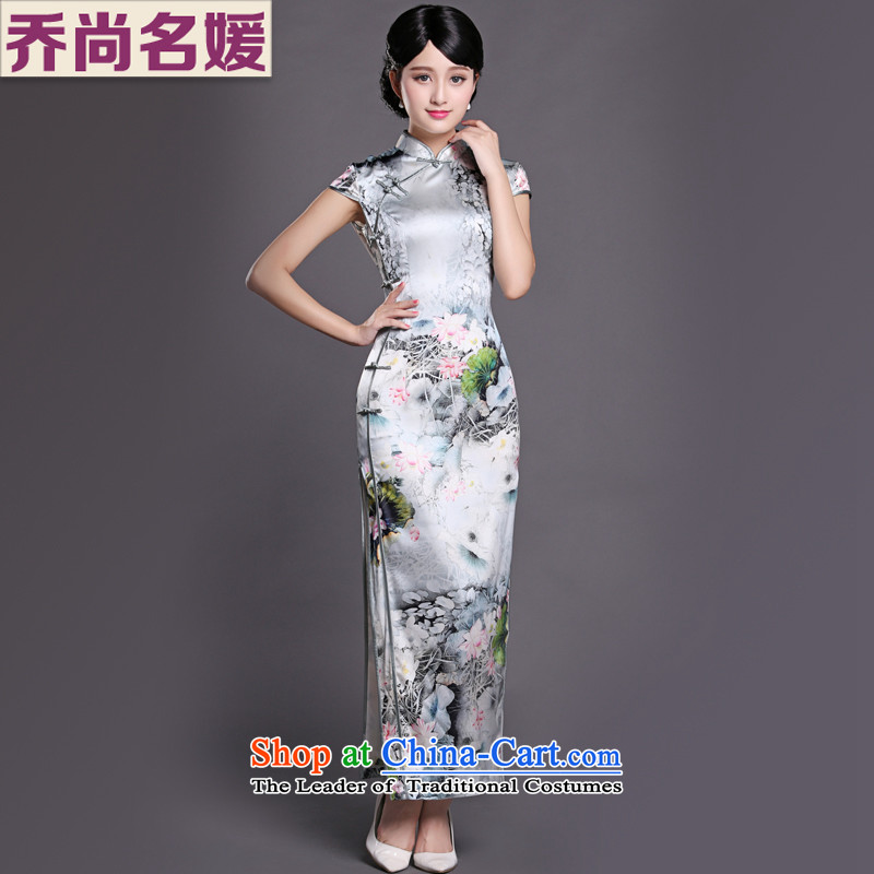 Joe was aristocratic cheongsam dress suit China wind long heavyweight silk Chinese Tang dynasty CKZS001 white?L