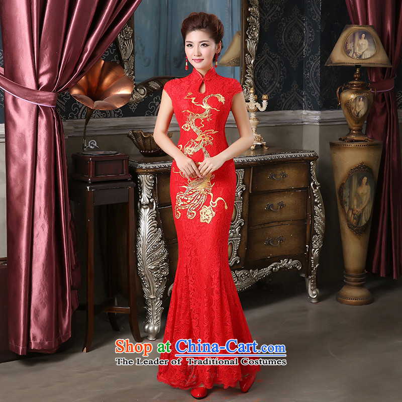 Pure Love bamboo yarn bridal dresses qipao qipao gown toasting champagne Sau San crowsfoot embroidery lace Chinese Dress Red聽XXL