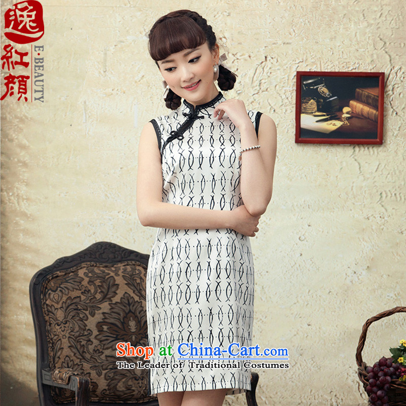 A Pinwheel Without Wind and busy ginyu qipao Yat short of summer herbs extract stamp stylish improved sleeveless cheongsam dress White聽XL