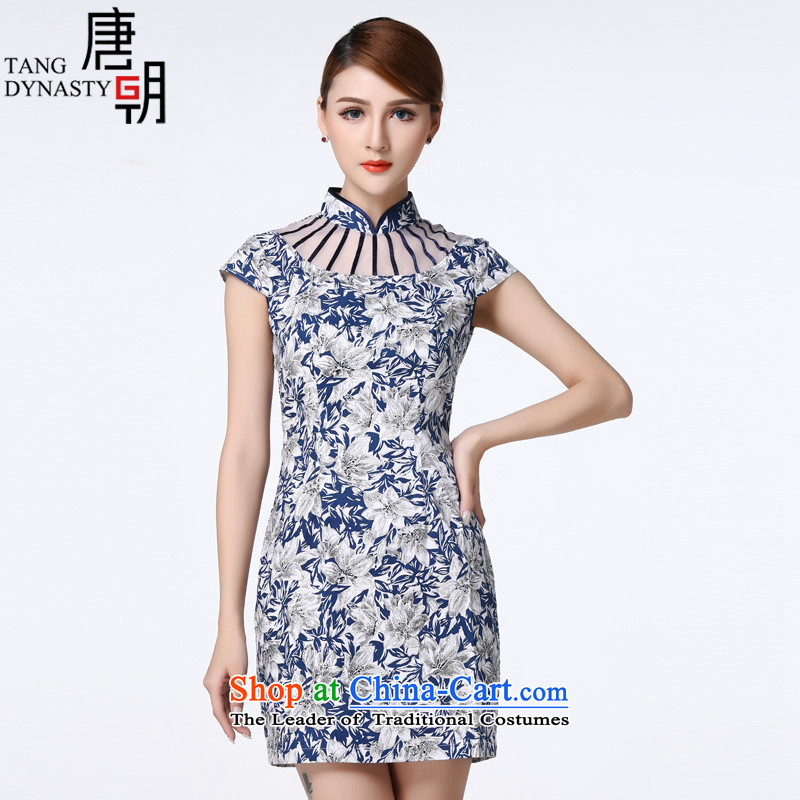 The Tang dynasty 2015 Summer New OSCE root yarn stitching short-sleeved elegance short cheongsam dress female TXF30498 blue and white azaleas?XL