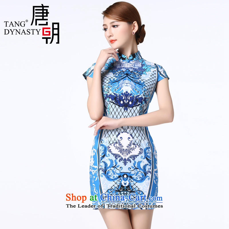 The Tang dynasty 2015 Summer abstract motifs Foutune of video thin improved daily short cheongsam dress female TXF21500J orchids in a stamp?L
