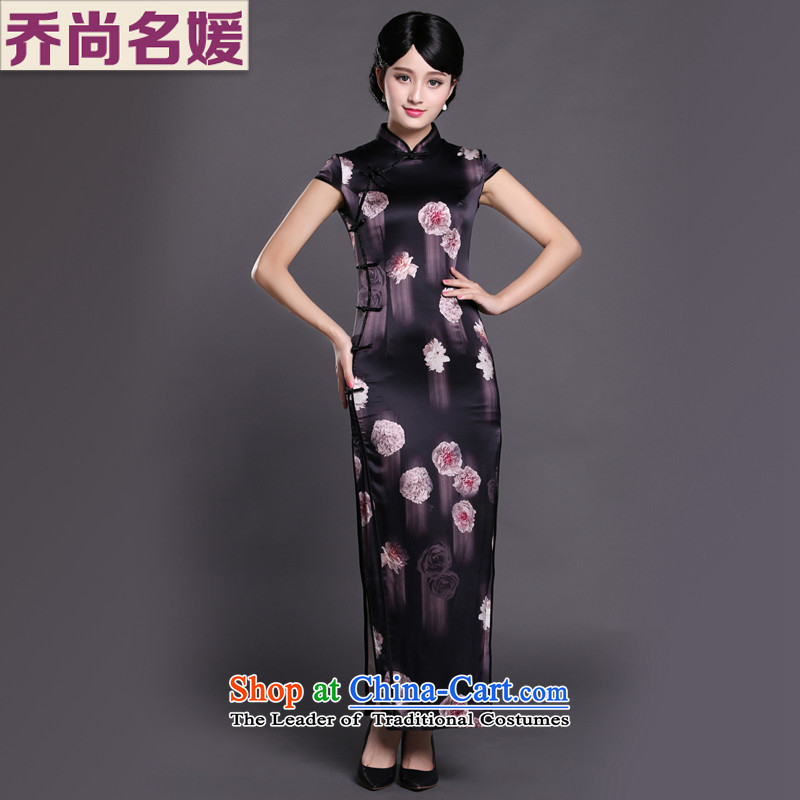 Joe was aristocratic Chinese cheongsam dress long republic of korea wind heavyweight silk CKZS002 black聽S