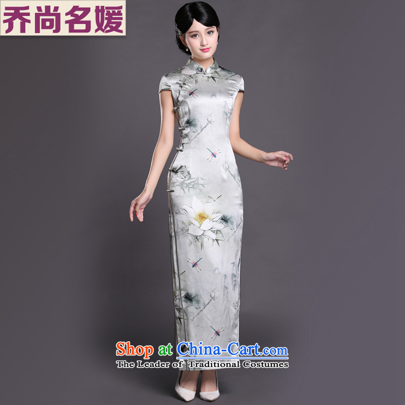 Joe was aristocratic republic of korea qipao gown of Chinese traditional long heavyweight silk CKZS005 Tang dynasty white?L