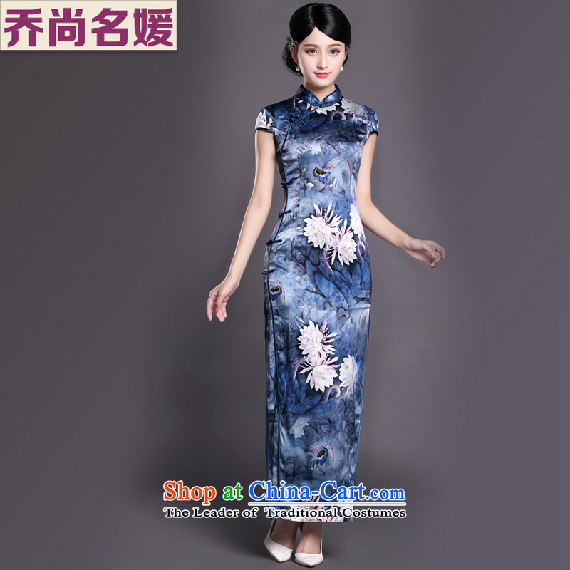 Joe was aristocratic China wind cheongsam dress heavyweight silk dresses CKZS007 long blue?L