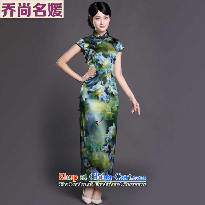 Joe was aristocratic Chinese cheongsam dress long heavyweight silk republic of korea women CKZS008 wind green L