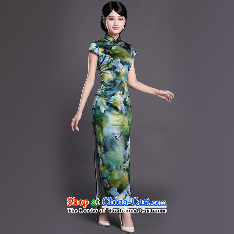 Joe was aristocratic Chinese cheongsam dress long heavyweight silk republic of korea women CKZS008 wind green聽L,CHOSHAN LADIES,,, shopping on the Internet