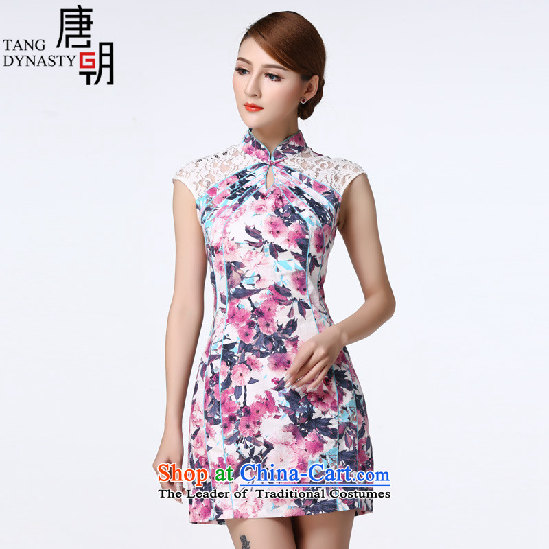 The Tang dynasty 2015 summer daily improved cheongsam dress lace stitching short skirt female TCF40003 QIPAO) emblazoned with the purple Begonia?M