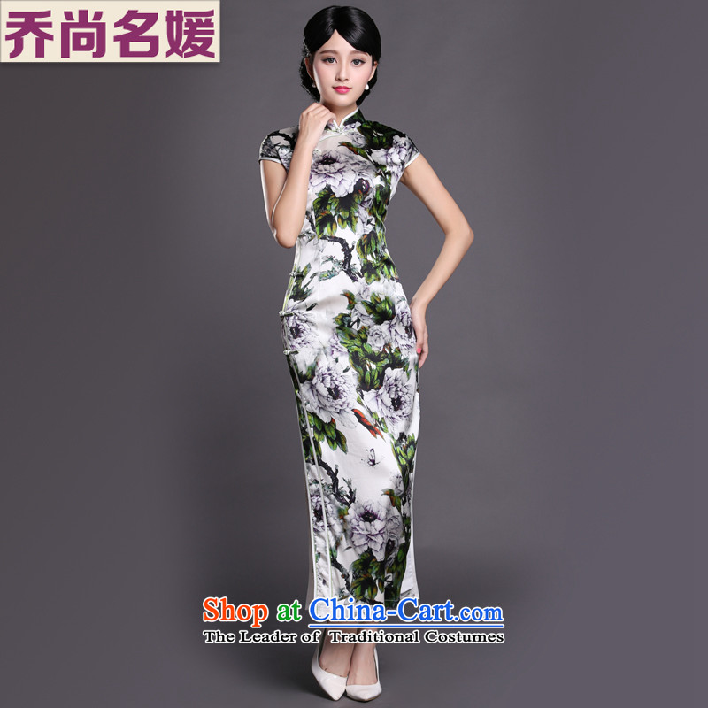Joe was aristocratic China wind cheongsam dress heavyweight silk dresses, Ms. long summer CKZS009 GREEN燲XL