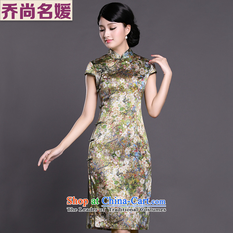 Joe was aristocratic ladies in temperament cheongsam long heavyweight silk summer ZS034 GREEN�S