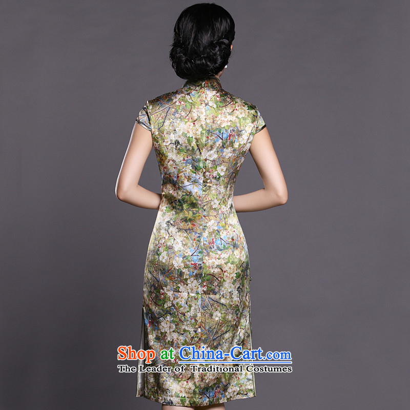 Joe was aristocratic ladies in temperament cheongsam long heavyweight silk summer ZS034 GREEN聽S,CHOSHAN LADIES,,, shopping on the Internet