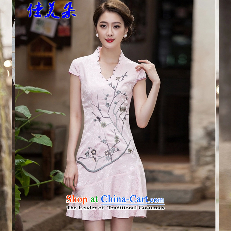 Jia Mei flower? spring and summer 2015 New Short Sleeve V-Neck embroidered Phillips-head nails pearl crowsfoot petticoats embroidery short qipao 1123# pink?XL