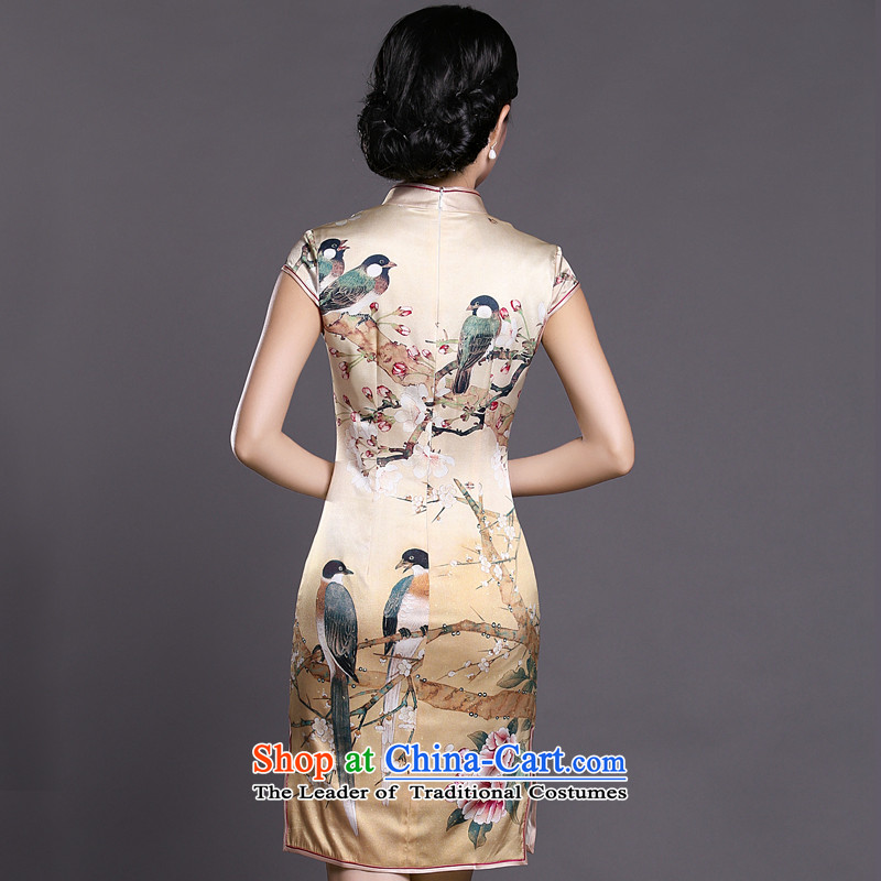 Joe was aristocratic republic of korea traditional Silk Cheongsam Ms. Tang dynasty ZS040 temperament yellow聽XXL,CHOSHAN LADIES,,, shopping on the Internet