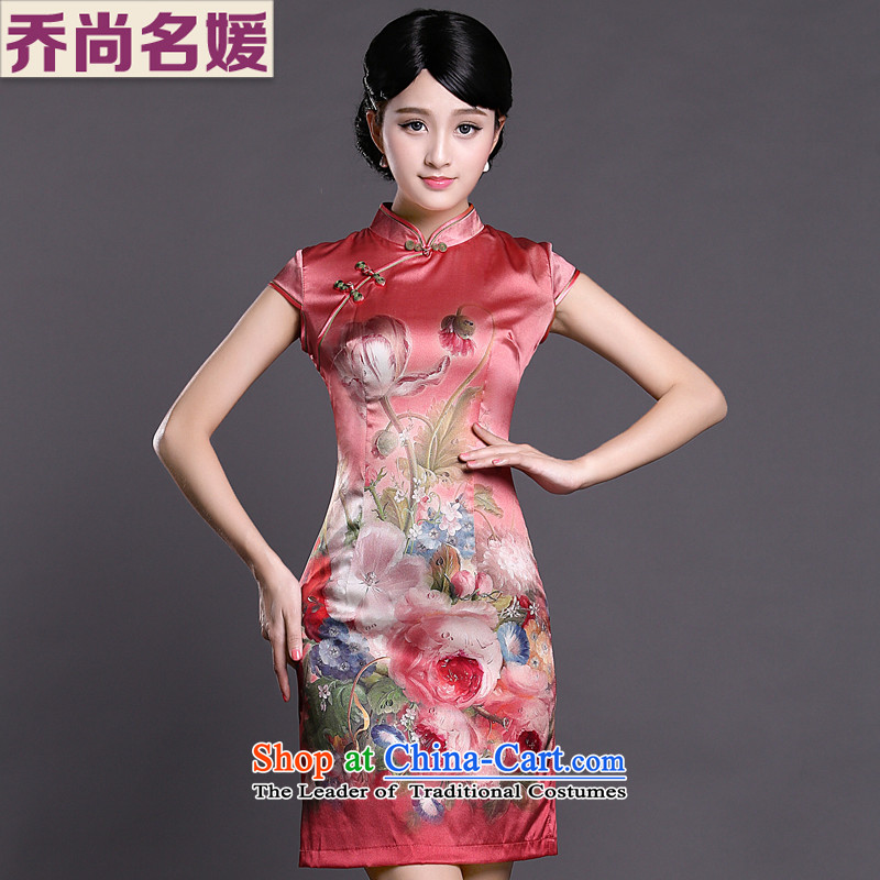 Joe was aristocratic red silk cheongsam dress short-sleeved improvement of the Republic of Korea women's wind ZS051 RED燲XL