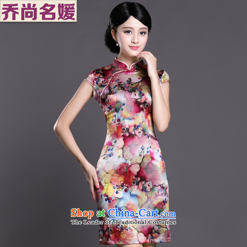 Joe was aristocratic cheongsam dress silk short-sleeved improved China wind Chinese Dress ZS052 RED燣