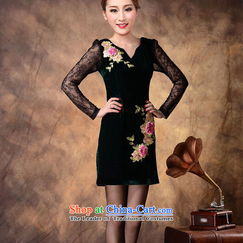 Load the autumn 2015 embroidery high-end Kim velvet cheongsam dress women's long-sleeved聽6612聽long-sleeved green聽XXL