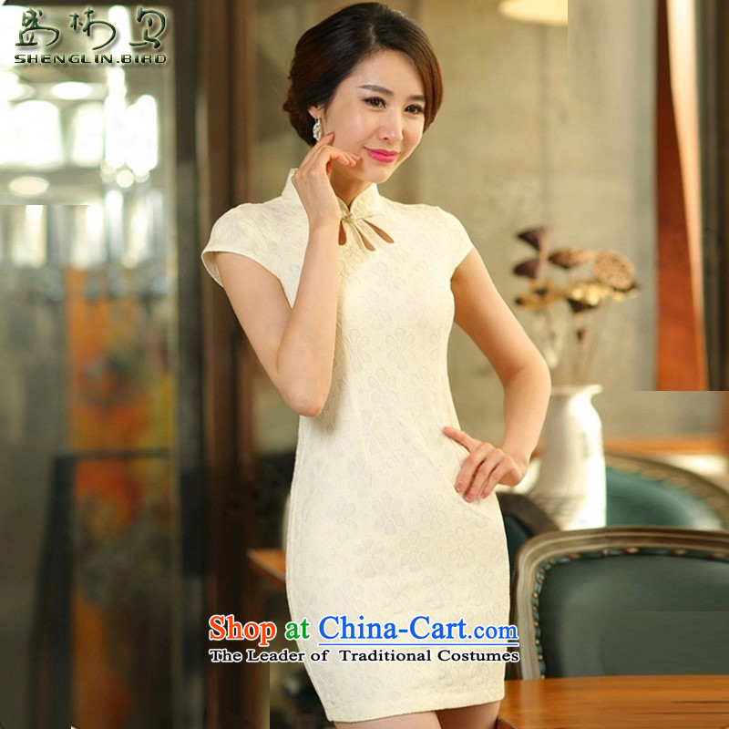 Summer new products/Tang dynasty women cheongsam summer ethnic women chiffon lace cheongsam dress female China wind solid color package and skirts Summer Package Mail apricot?S