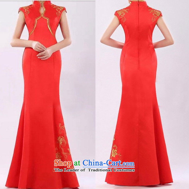 The knot true love etiquette porcelain cheongsam dress will award ceremonies stage costumes red XL