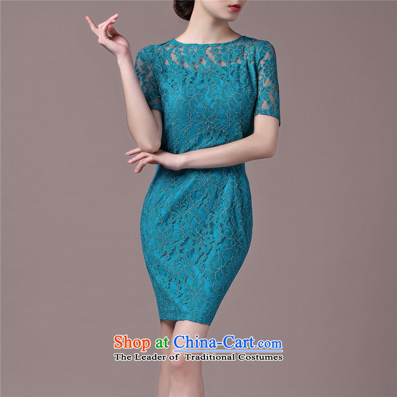 Ishan goods in the lace cuff dresses commuter improved cheongsam dress jade green燣