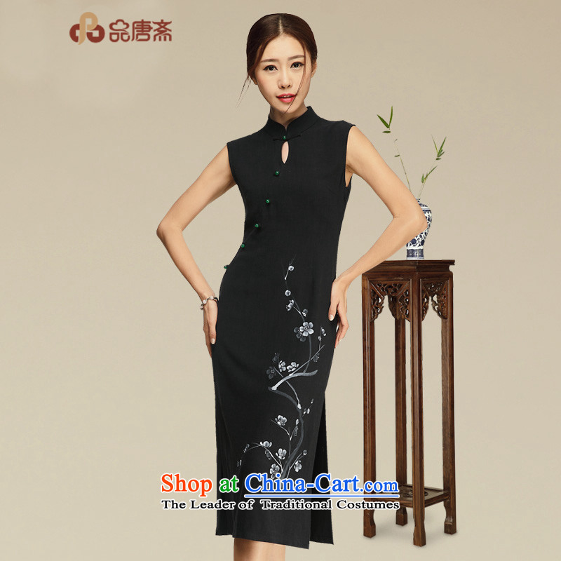 No. of Ramadan cheongsam dress Tang�15 Summer new retro women's dresses Black燲L