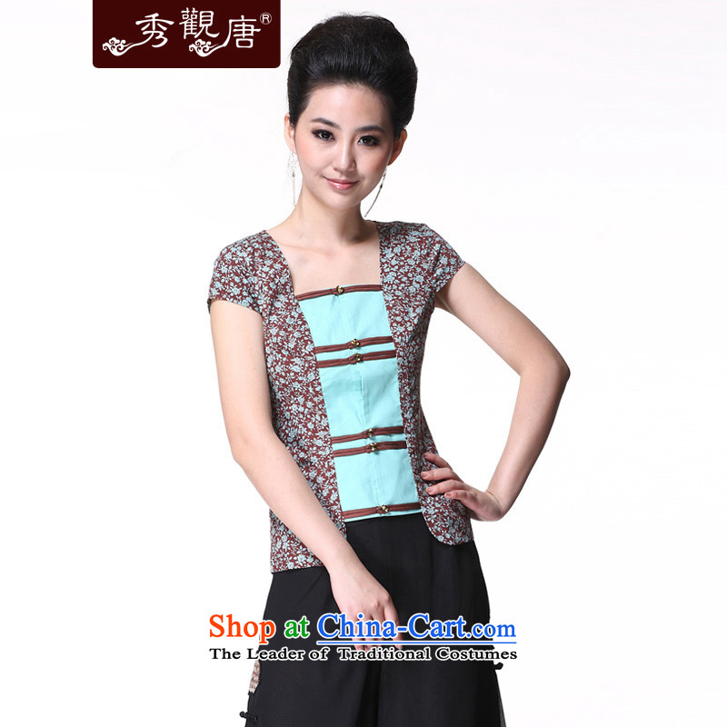 Sau Kwun Tong and a national women's wind/replace Ms. Tang Xia blouses/Chinese improved short-sleeved picture color XL