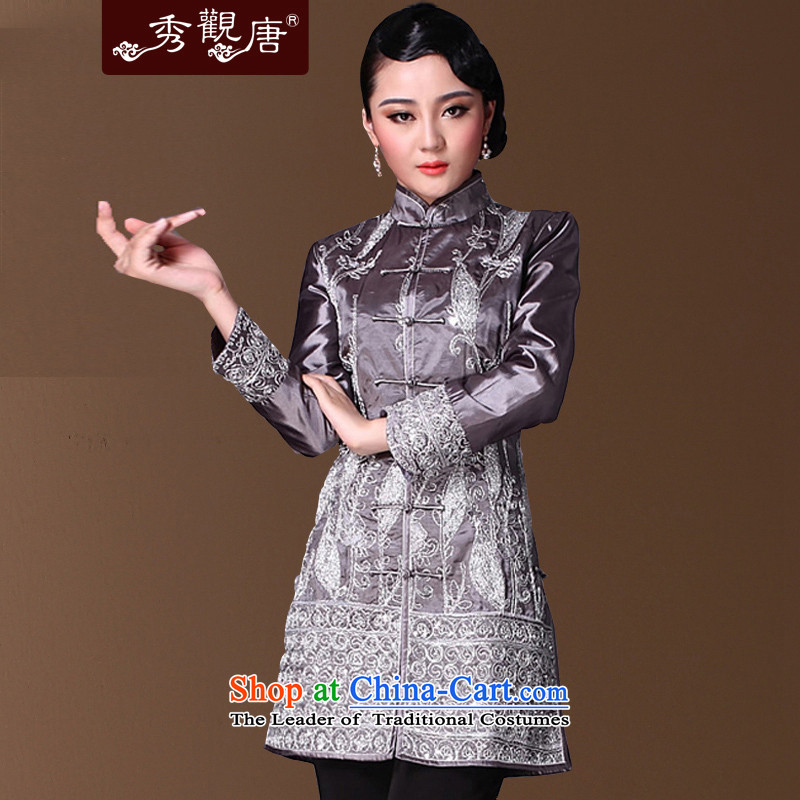 Sau Kwun Tong dry lady Chinese Tang blouses winter 2015 improved Stylish coat silver聽3XL 9625-JGCF Embroidery