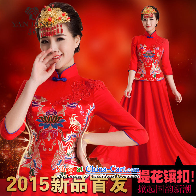 Charlene Choi Spirit wedding dresses new 2015 dress marriage retro in improved bows long-sleeved bride long summer QP84 RED?XXL