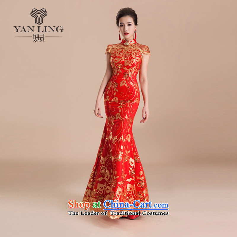 Charlene Choi Ling 2015 wedding services wedding dresses qipao toasting champagne evening dress retro marriage crowsfoot long red bride QP80 RED燲XL