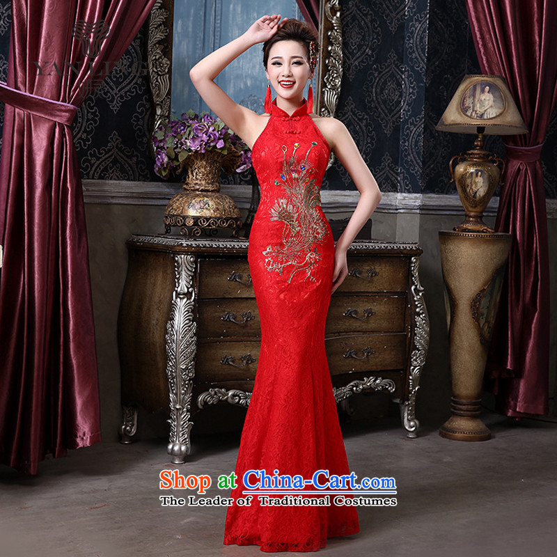 Charlene Choi Ling 2015 marriages bows to hang the history back lace Phoenix cheongsam wedding bride with a crowsfoot QP-136 RED?L
