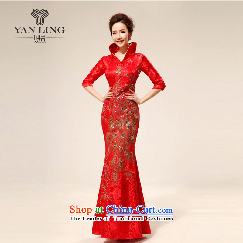 Charlene Choi Ling 2015 new re-door onto the design of the ceremonial dress red bows replacing dress qipao 71 Red XL