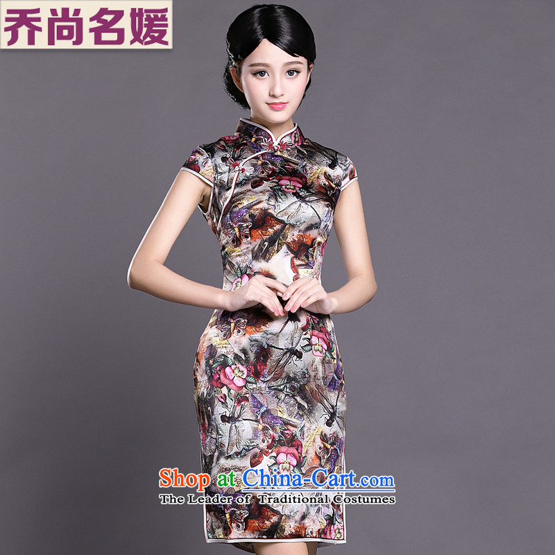 Joe was aristocratic ethnic cheongsam dress silk-day summer ZS011 Ms. improved suit聽XL