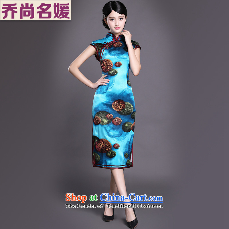 Joe was aristocratic Silk Cheongsam. Long feast spend high-end temperament dress ZS012 BLUE聽L