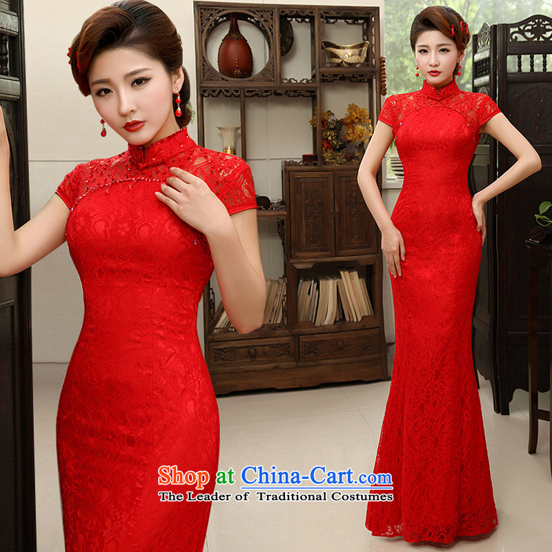 Charlene Choi Ling _YANLING new Chinese marriages bows services red crowsfoot lace long cheongsam dress female summer QP-600 RED燬
