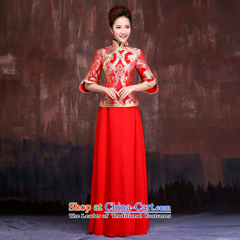 Charlene Choi Spirit wedding dresses new 2015 dress in marriage retro bows long-sleeved bride long summer X00271 XL