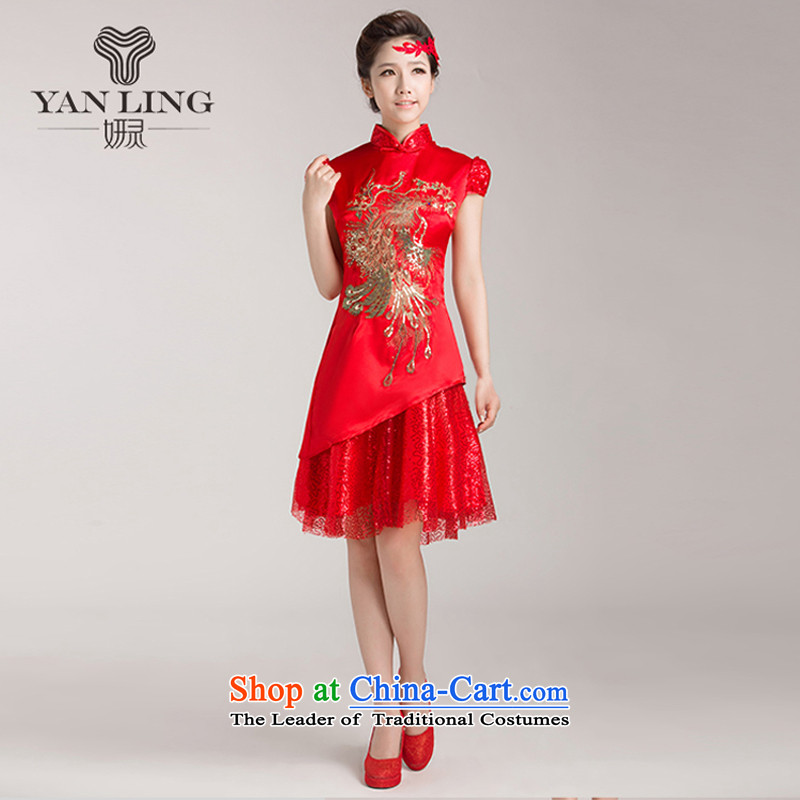 Charlene Choi Ling marriages cheongsam wedding dresses, Red Chinese improved services for summer bows retro cheongsam dress燲XL
