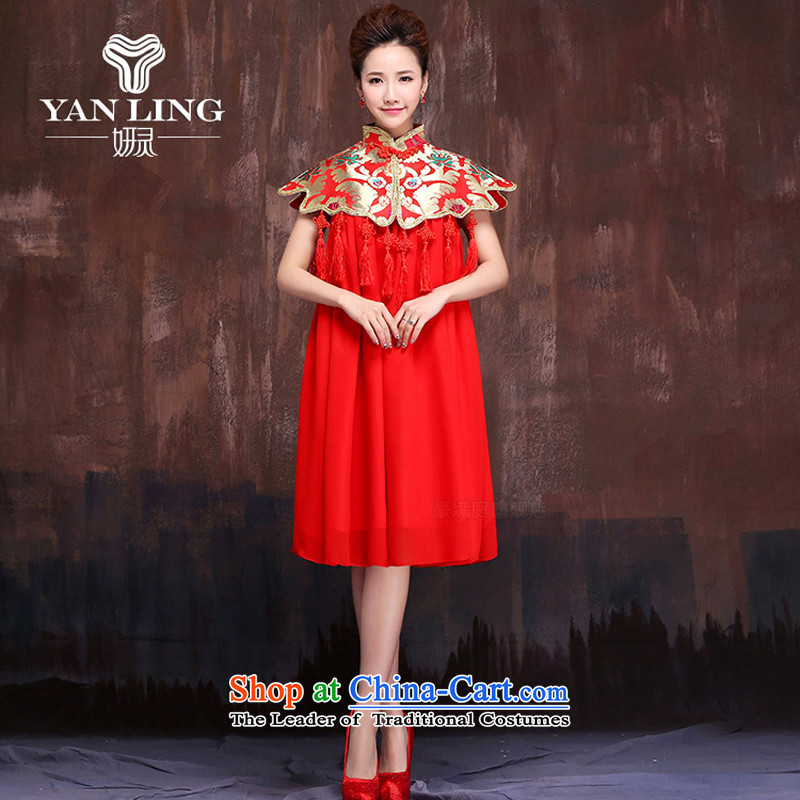 Charlene Choi Ling summer macrame edging wind marriages of bows services red dress code longfeng embroidery maximum use燲XL