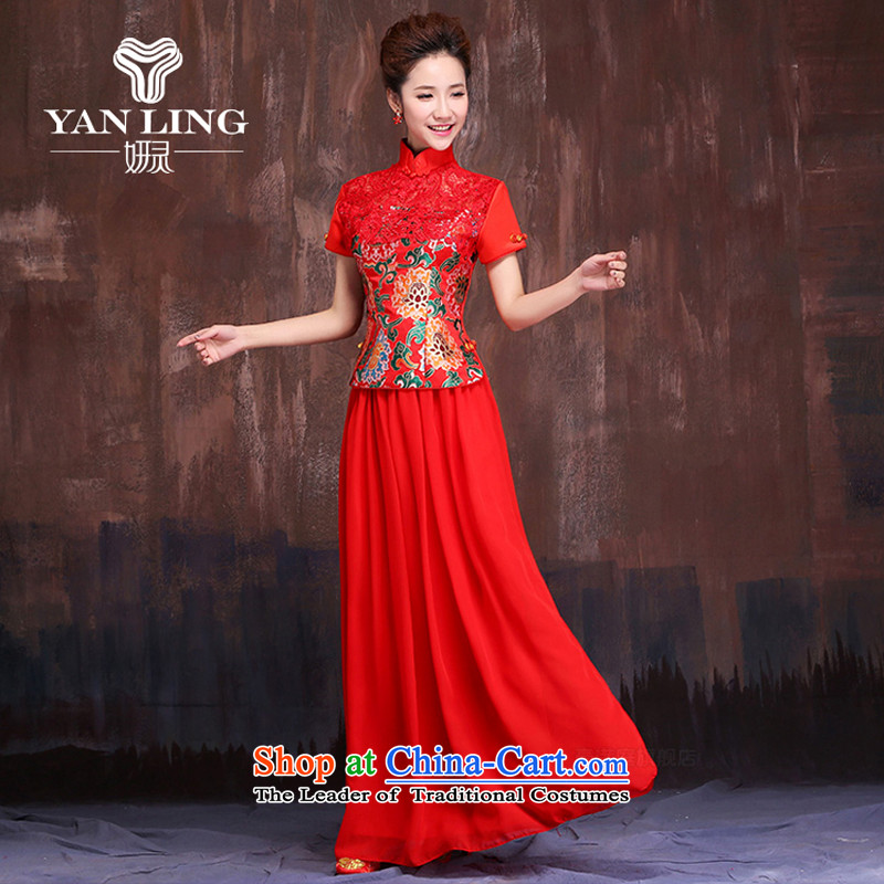 Charlene Choi Ling marriages red long bows services 2015 Chinese improved short-sleeved cheongsam dress Sau San dresses S