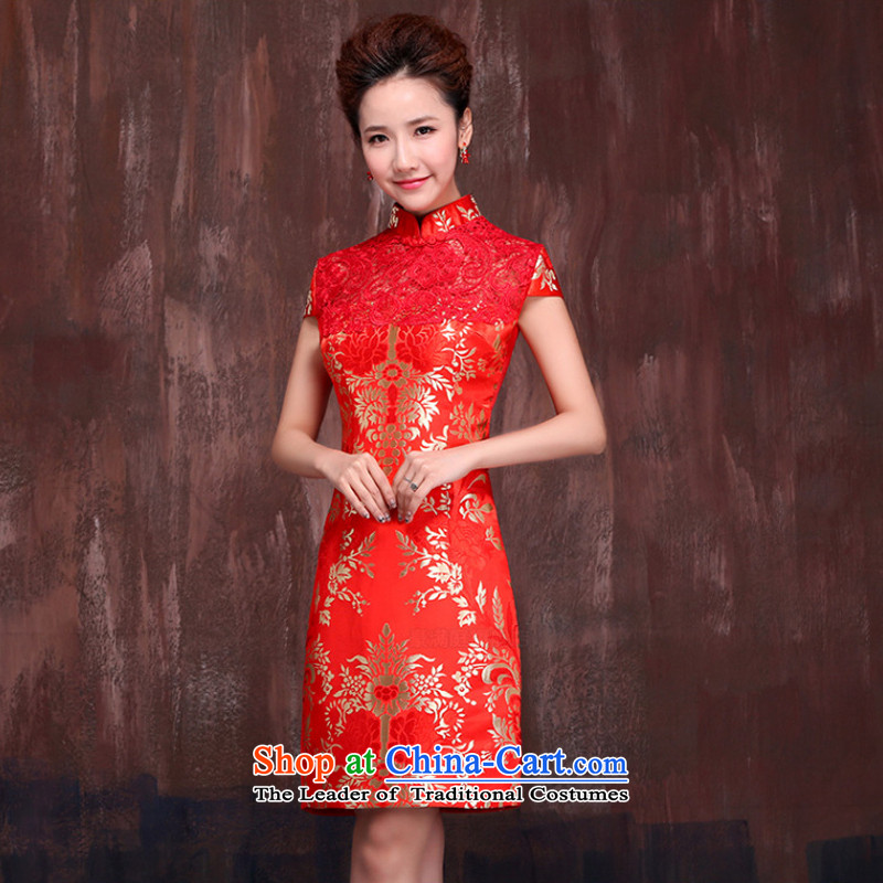 Charlene Choi Ling marriages short, red爏pring and summer 2015 new qipao Stylish retro bows service improvement dress燣