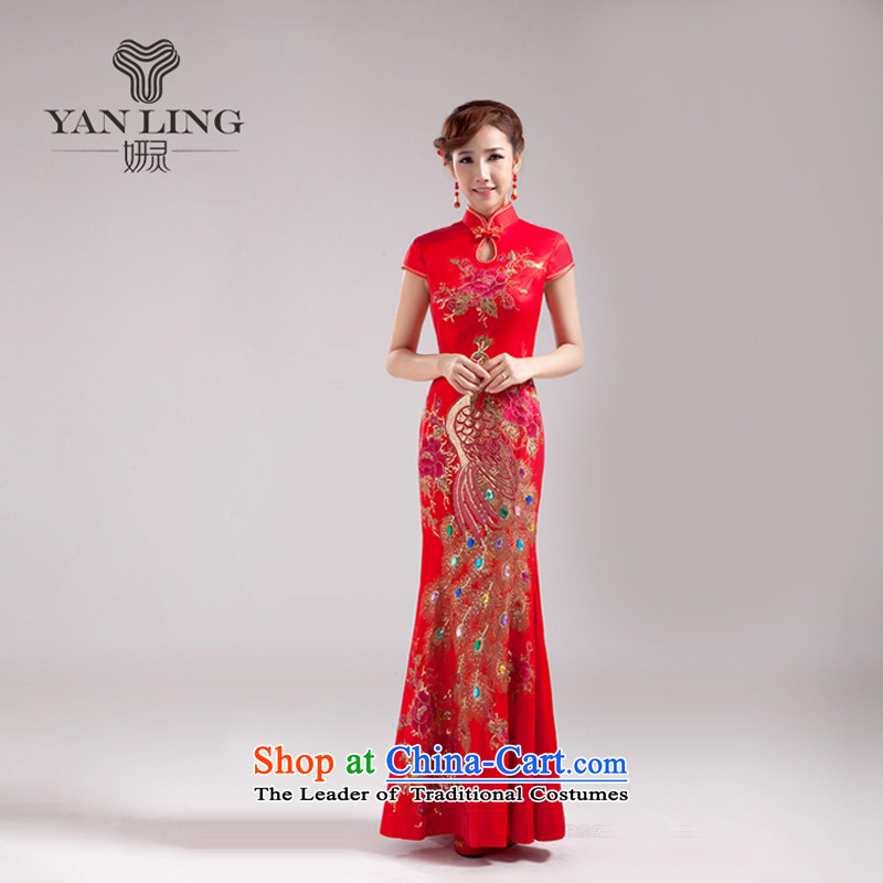 Charlene Choi Ling 2015 new stylish spring and autumn marriages qipao gown girls serving bows dresses red long?M