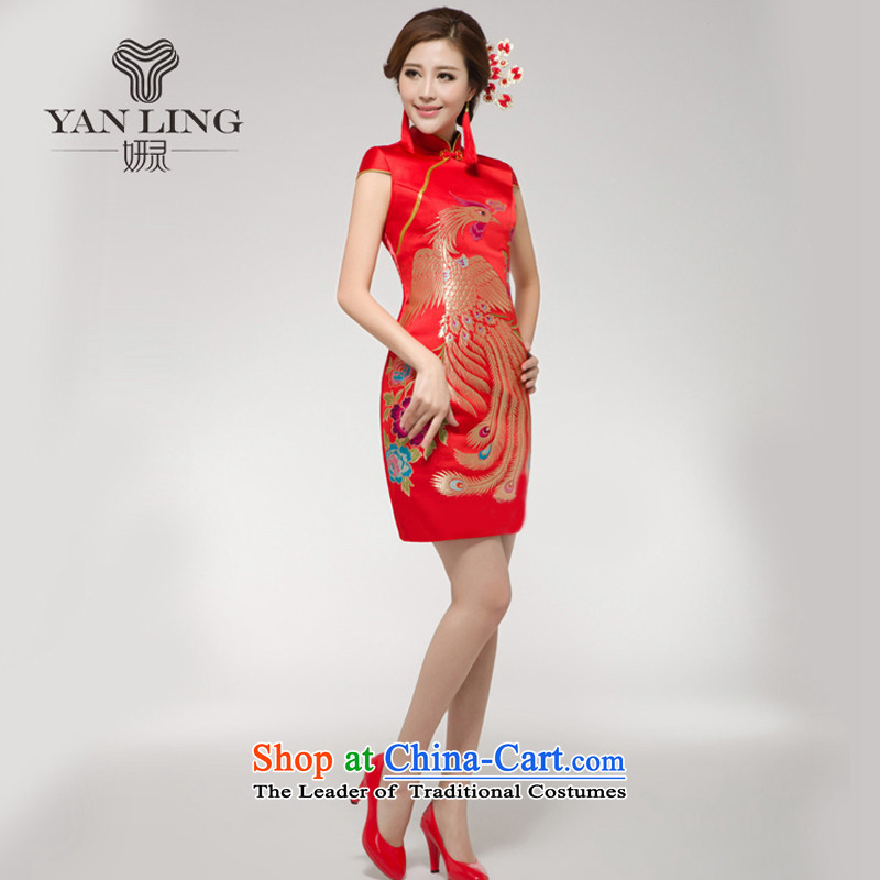 Charlene Choi Ling?2015 new red bride services short skirts female bows Chinese cheongsam dress short summer bows small improvement,?L