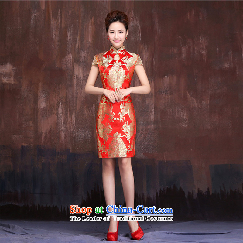Charlene Choi spirit of marriages red short bows services 2015 new dragon robe CHINESE CHEONGSAM bride with improved燣