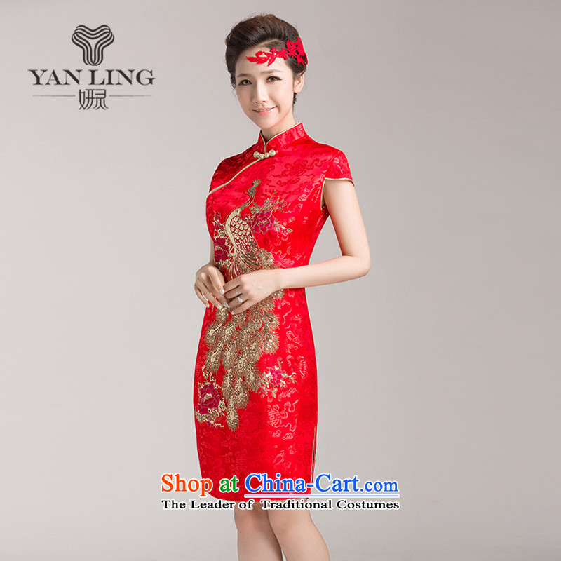 Charlene Choi Ling marriages cheongsam wedding dresses, Red Chinese improved services for summer bows retro temperament qipao燲XL