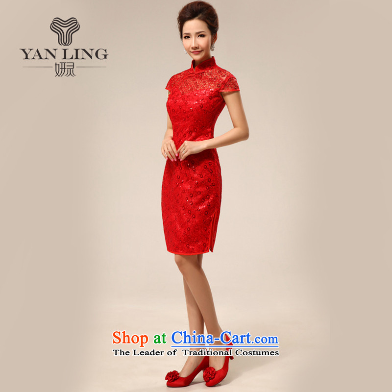 Charlene Choi Ling package shoulder stylish short of improved transparency and sexy lace marriages cheongsam dress for summer 2015 New Red燬